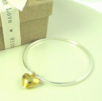 Everlasting Gold Heart Charm Bangle