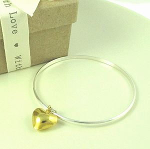 Everlasting Gold Heart Charm Bangle - bracelets & bangles