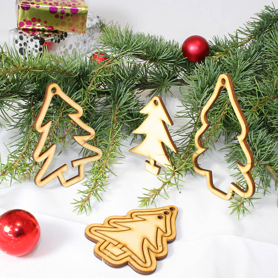 15 Laser Cut 'christmas Tree' Decorations By Cleancut Wood