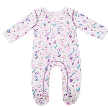 Owl Print Footed Sleepsuit