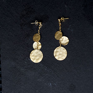 Hammered Gold Disc Earrings - jewellery sets