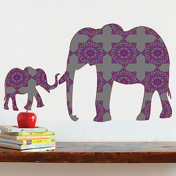 Damask Elephant Baby Fabric Wall Decal