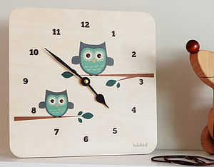'LulaOwl' Clock In Teal Or Plum - children's room accessories
