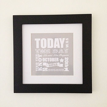 'Today Was The Day' Wedding Print