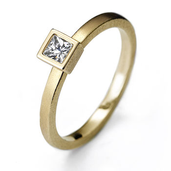 Yellow Gold Princess Cut Solitaire