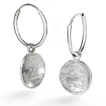 Silver Diary Button Drop Hoops