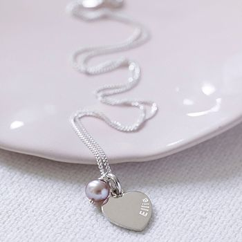 Girls Personalised Heart Pearl Drop Necklace