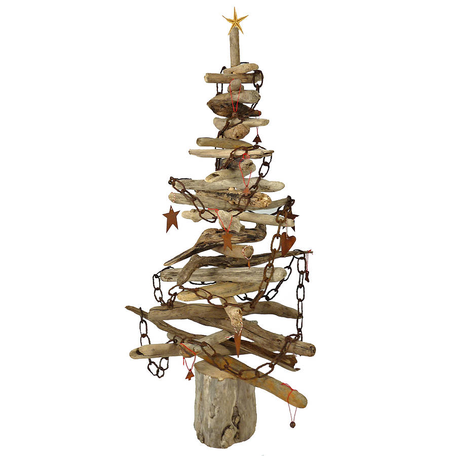 Driftwood christmas trees by nautilus driftwood design for Hanging driftwood christmas tree