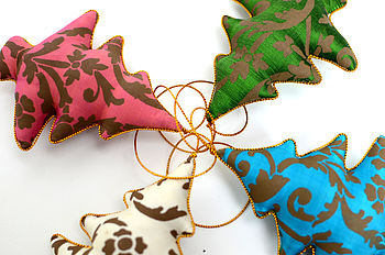 Hand Printed Silk Christmas Tree Decoration