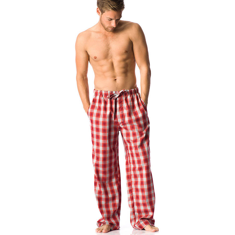 Tartan Plaid Thermal-Top Men's Pajamas. It's the season of plaid! But not all flannel is created equal. These premium men's pajamas feature woven, double-brushed cotton flannel that's impeccably soft - straight out of the gift box. And because its yarn-dyed, the colors are guaranteed to last.