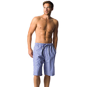 Men's Blue Striped Pyjama Shorts - men's fashion