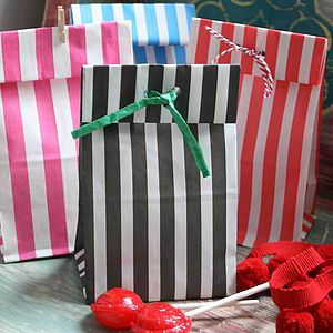 Candy Stripe Block Bottom Bags X20 - cards & wrap