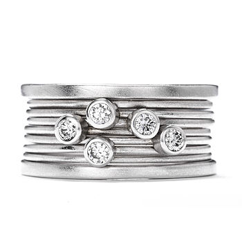 White Gold Diamond Stack Ring