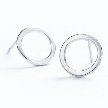 Silver Loop Stud Earrings