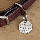Merry Dogs 1in sterling silver dog ID tag - If found, call my DAD!