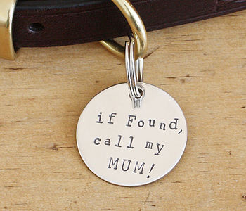Merry Dogs 1.25in Sterling Silver dog ID tag - If found, call my Mum!