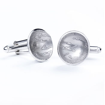 Silver Diary Button Cufflinks