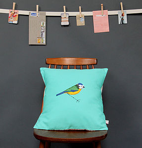 Embroidered Cushion Blue Tit - cushions