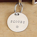 Merry Dogs 1.25in sterling silver dog ID tag - Your dog's name - Scooby