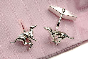 Silver Greyhound Cufflinks - men's accessories