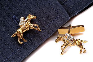 Jockey And Race Horse Cufflinks - cufflinks