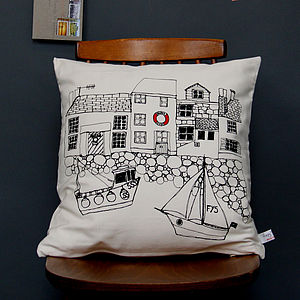 Printed Cushion Seaside Houses