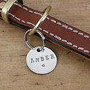 Merry Dogs 1in sterling silver dog ID tag - Amber