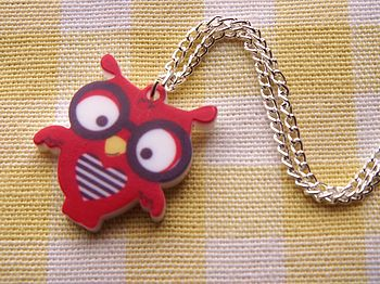Mini Owl Charm Necklace And Earrings