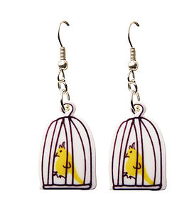 Mini Bird Cage Charm Necklace And Earrings