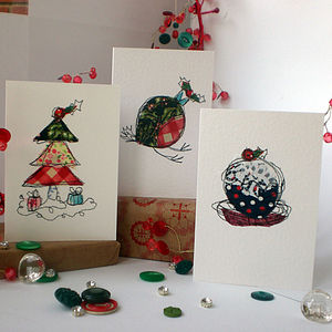 Pack Of Six Embroidered Christmas Cards