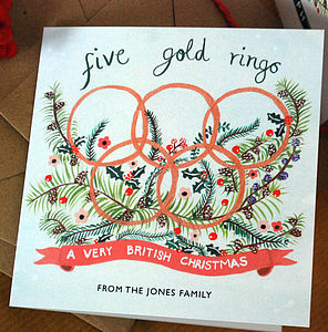 Personalised 'Five Gold Rings' Xmas Cards - christmas card packs