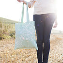 Sea Green Quirky Motifs Canvas Bag
