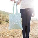 Sea Green Quirky Motifs Canvas Bag