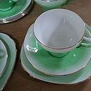 Vintage Green Teacup, Saucer And Side Plate