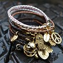 Braided Leather Charm Bangles Mixed Colours