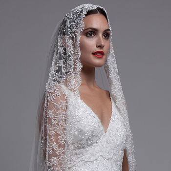 Beaded Mantilla Veil