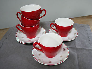 Red Teacup And Saucer
