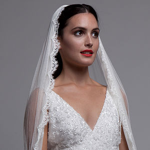 Silk Tulle Veil With Chantilly Lace Trim - hats, hairpieces & hair clips