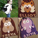 Woolly Sheep, personalised Bernie Bunny, Edmund Elephant & Claude Cat Nursery Bags