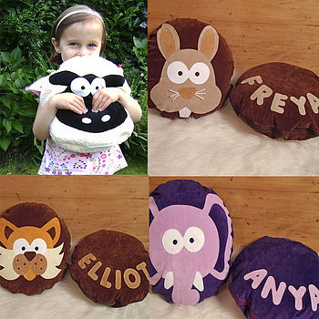 Woolley Sheep, personalised Bernie Bunny, Claude Cat & Edmund Elephant Cushions