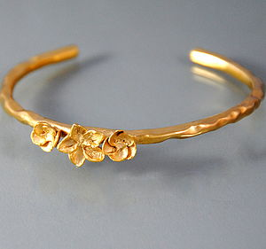 Gold Blossom Bangle - bracelets & bangles