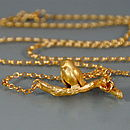 Gold Robin On A Branch Necklace