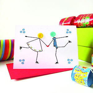 'Skating' Personalised Christmas Card - cards