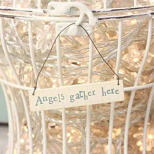 Little Words Sign Angels Gather Here - decorative accessories