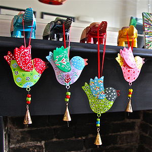 Sset Of Birds And Bells Decorations