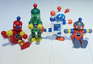 Wooden Retro Flexible Robot Full Set - traditional toys & games