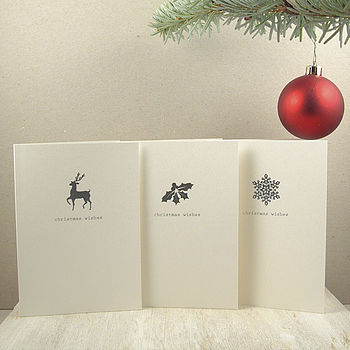 Six Rudolph Holly And Snowflake Cards
