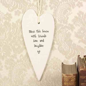 'Bless This House' Long Porcelain Heart