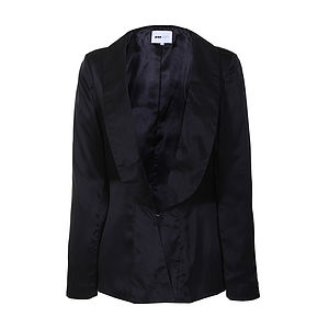35% Off: Shawl Collar Silk Blazer - women's fashion