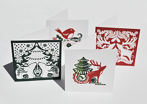 Folk Christmas Cards Set Of Four - cards
